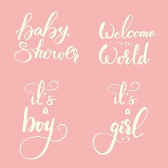 Set of greeting lettering for baby shower. vector illustration.