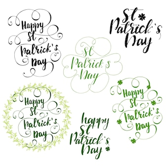 Set of greeting lettering for st patrick's day. vector illustration.