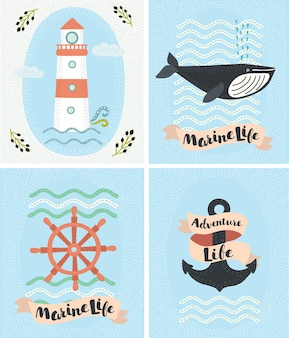 Set of greeting marine cards and sea elements collection illustrations