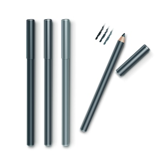 Set of grey blue cosmetic makeup eyeliner pencils