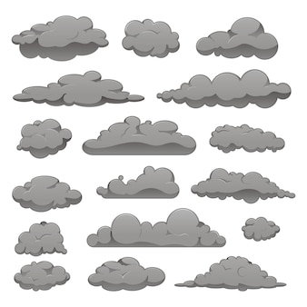 Set of grey clouds of different forms.