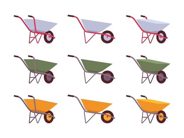 Set of grey, green, yellow wheelbarrows