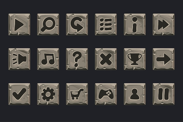 Set of grey stone buttons for web or game. icons on a separate layer Premium Vector