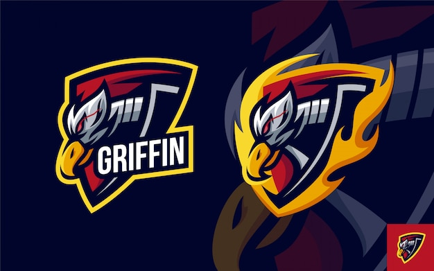 Set of griffin head logo mascot