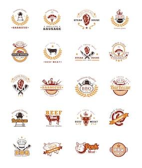 Установите значки для гриля и барбекю, наклейки, эмблемы