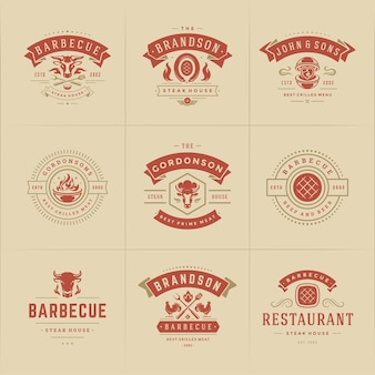 Set of grill and arbecue logos