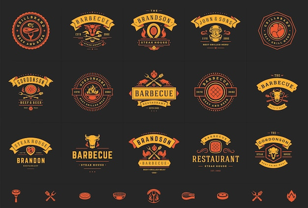 Set of grill and barbecue logos
