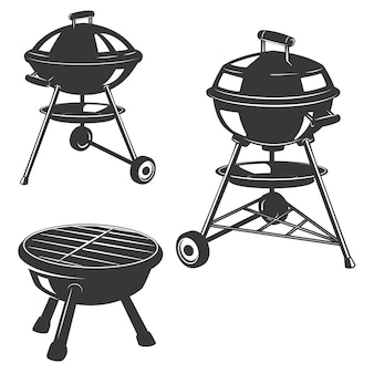Set of the grills  on white background.  elements for restaurant menu, poster, emblem, sign.