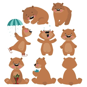Set of grizzly bears. collection of cartoon brown bears. christmas illustration for children.