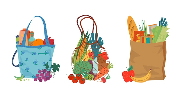 Set of grocery bags with assorted products