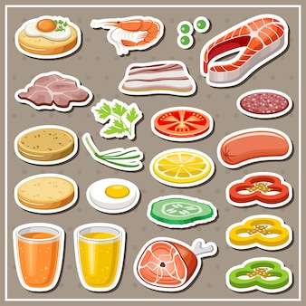 Set of grocery stickers. vegetables, snack, drinks.