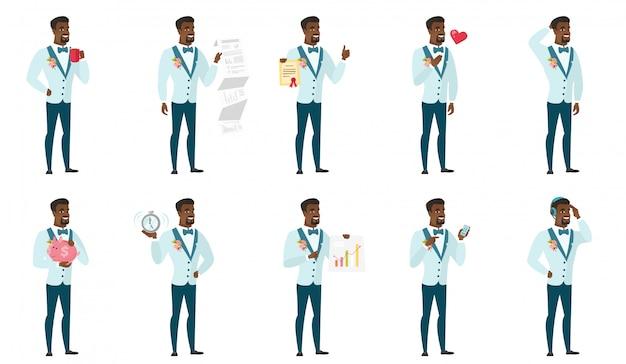 Set of  groom character.
