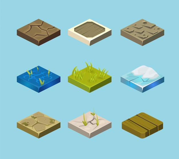 Set of ground surfaces. grass, rocks and water. landscape web design.