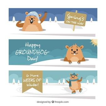 Set of groundhog day banners