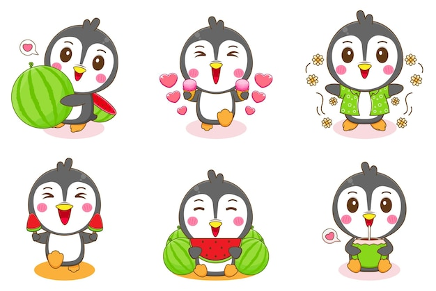 Set group of cute penguins with summer activities
