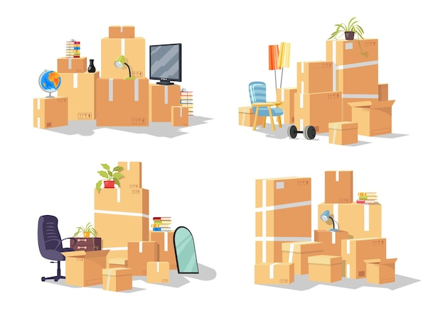 Set of group of furniture cardboard boxes