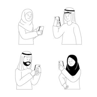 アラビアの人々のグループがスマートフォンのイラストを見て、見るように設定します