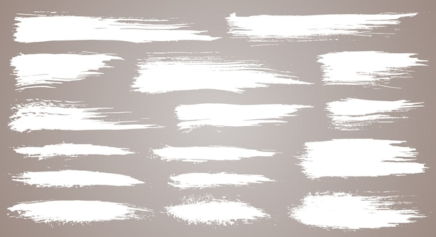 Set of grunge artistic brush strokes, brushes. creative design elements. grunge watercolor wide brush strokes. white collection isolated on white background