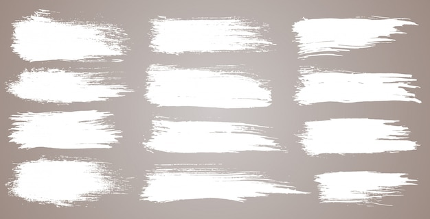 Set of grunge artistic brush strokes, brushes. grunge watercolor wide brush strokes. white collection isolated on white background