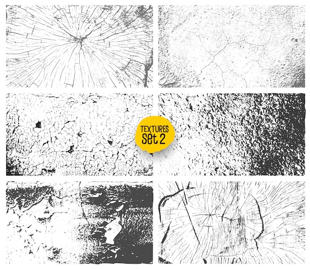 Set of grunge black and white urban texture template