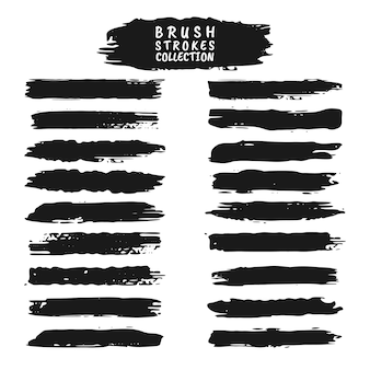 Set of grunge brush strokes. collection of black vector ink, vector ink brush strokes set