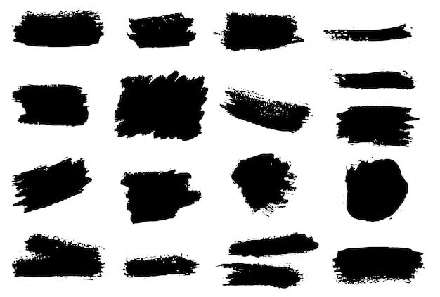Set of grunge brush strokes.   element
