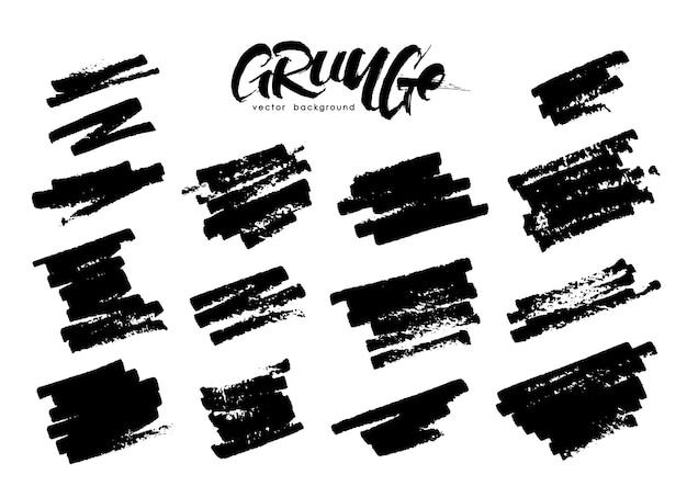 Set of grunge brush strokes on white background