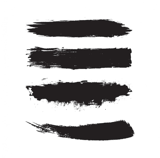 Set of grunge brush strokes