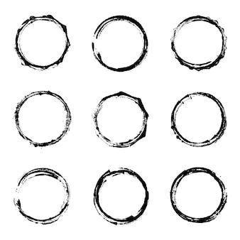 Set of grunge circle vector illustration