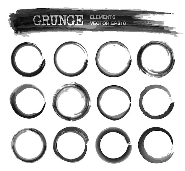 Set of grunge realistic ink watercolor painting circle frame