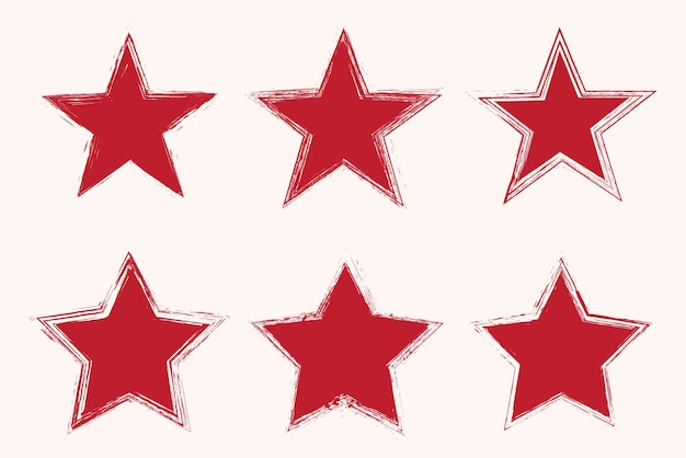 Set of grunge red star icons