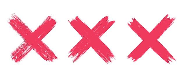 Set of grunge red x sign