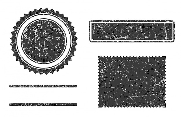 Set of grunge stamps template different forms.