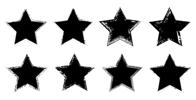 Set of grunge star icons