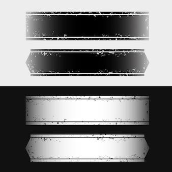 Set of grunge style horizontal stripe black and white