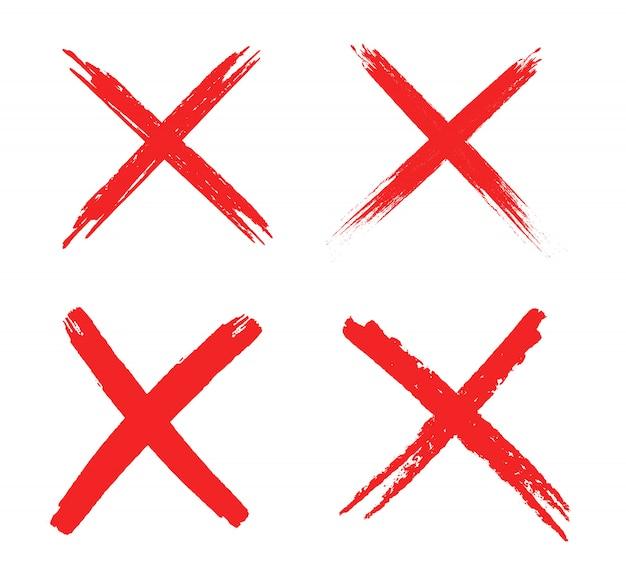 Set of grunge x sign