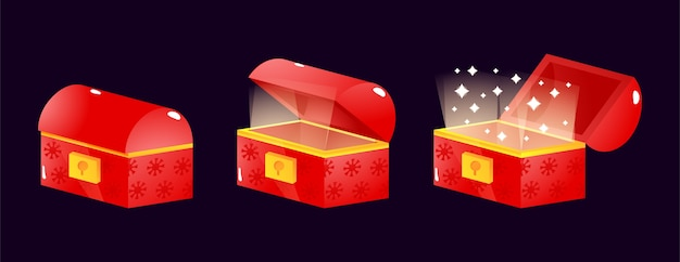 Set of gui christmas treasure chest box