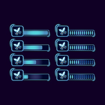 Set of gui fantasy rpg blade sword progress bar for game ui asset elements