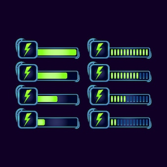 Set of gui fantasy rpg energy stamina progress bar for game ui asset elements