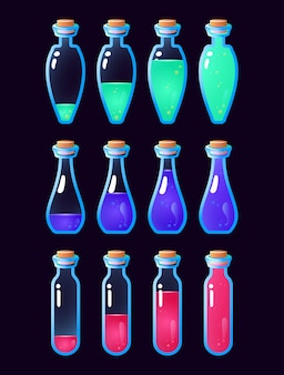 Set of gui potion bottle animation from low to full for game ui asset elements