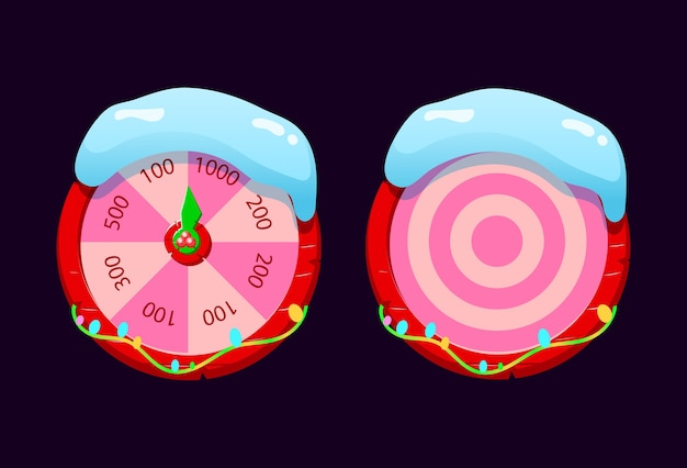 Set of gui snowy fortune wheel and target wheel