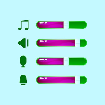 Set of gui volume, music, mic icon with bar for game ui asset elements