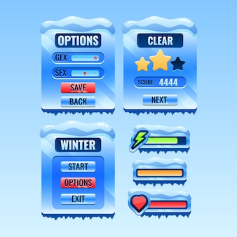 Set of gui winter christmas board menu pop up and icon bar for game ui asset elements