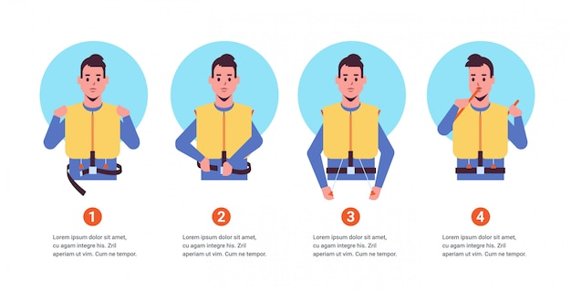 Set guidance from the steward flight attendant man explaining safety instructions with life vest step by step demonstration how to behave in emergency situation portrait copy space