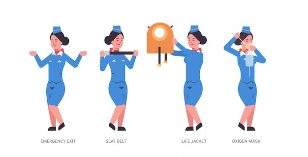 Set guidance from stewardess explaining instructions with life vest seat belt emergency exit and oxygen mask flight attendant in uniform safety demonstration concept horizontal full length