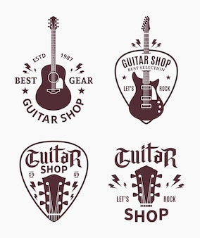 Set of guitar shop logo. music icons for audio store, branding, poster or t-shirt print