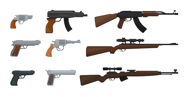 Set of guns isolated on white