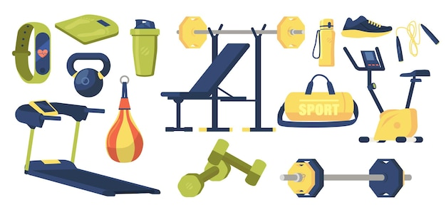 Set of gym elements sport bag, dumbbells, barbell and scales, punching bag, shaker, chair and sneakers, treadmill, bicycle and jump rope with smart watch and water bottle. cartoon vector illustration