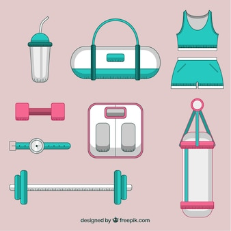 Set of gym elements with exercises tools