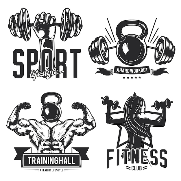 Set of gym emblems, labels, badges, logos. isolated on white
